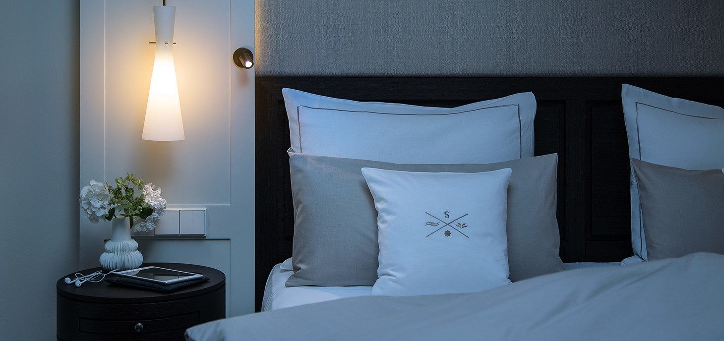 Comfortable bed at the hotel of Severin*s Resort and spa on Sylt